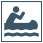 Minimalist graphic of person in canoe paddling