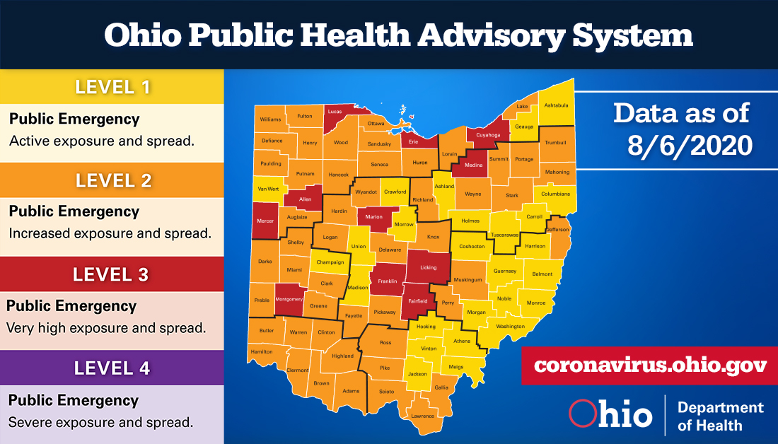 August 6, Public Health Advisory Map