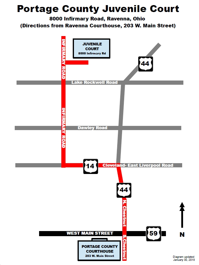 Directions from Ravenna Court to Juvenile Court